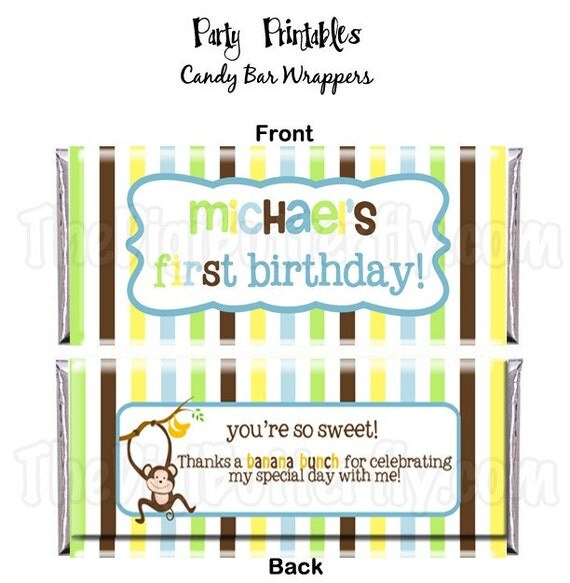 Monkey Boy Party - CUSTOM Candy Bar Wrapper - DIY Party Printables - Party Favors, Digital Download and Print