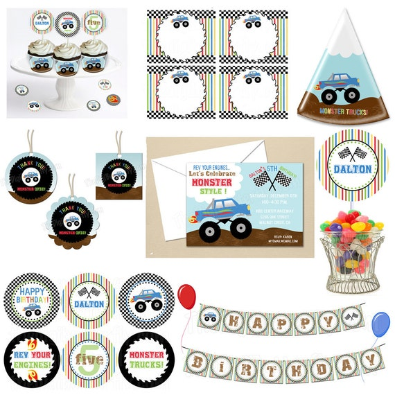 Monster Truck Party - Starter COLLECTION - DIY Party Printables - Digital Download and Print