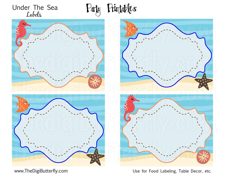 Under The Sea Party Party Labels DIY Party Printables