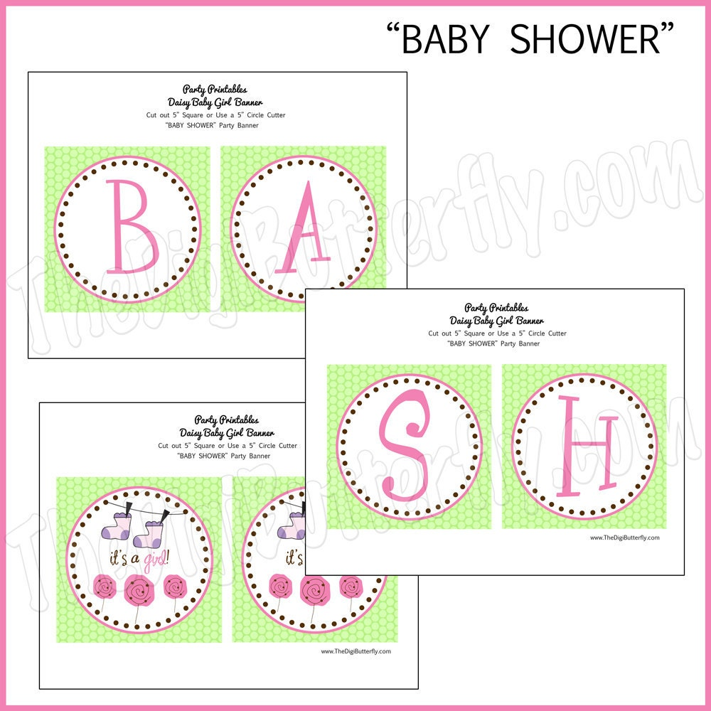 Daisy Baby Girl Shower Banner DIY Party Printables INSTANT