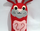 "Felt Bunny - felt doll - hand embroidered - 10"" tall"