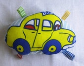 Tags Toy for Baby - Bell inside - Cotton Fabric - Yellow Car Print