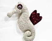 Seahorse - stuffed animal - Bordeaux and Beige floral cotton