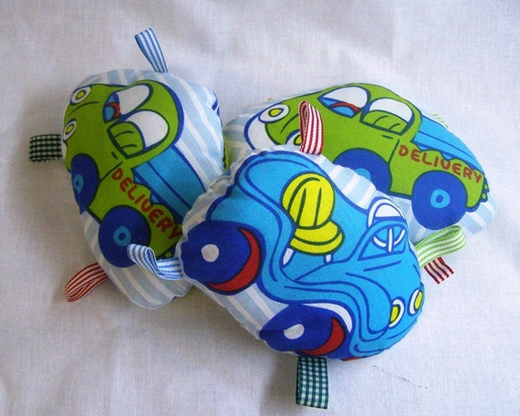 Tags Toy for Baby - Bell inside - Cotton Fabric - Blue Car Print