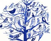 Blue birds tree, giclee print