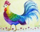 Rainbow Rooster - Original Watercolor Painting