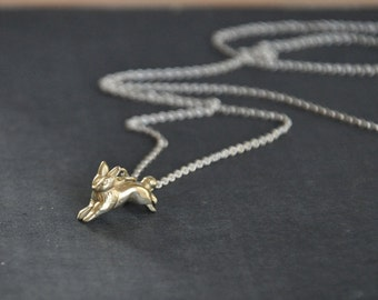 Hare rabbit necklace 18k gold and silver
