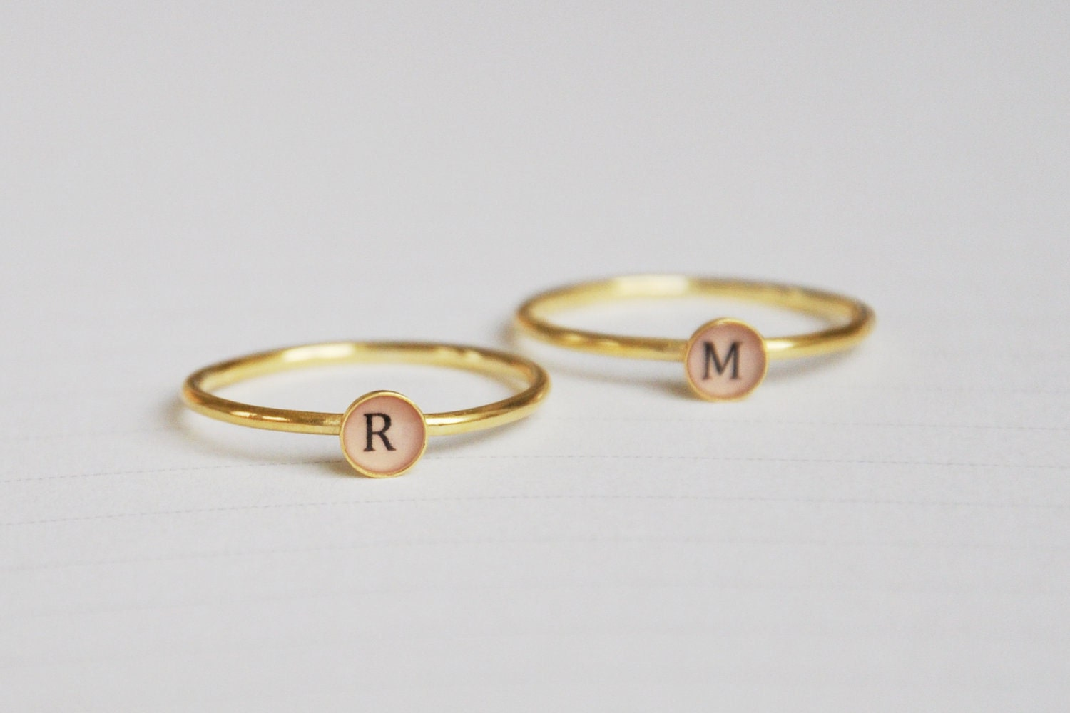 Set Of Two Letter Initial Rings Uppercase 18k Goldplated