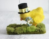 Baby Chick in Top Hat Needle Felted Sculpture
