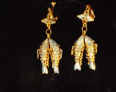 Blue enamal fish earrings