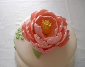 1 Edible Sugar Peony flower- Wedding cake topper / Custom Color