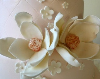 "1 Edible Sugar Magnolia flower- 5"" LG / Wedding cake topper  CUSTOM"