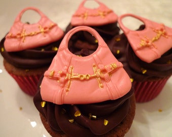 24 Edible Fashion Hobo Purse cupcake toppers- Hot Pink w/Gold details