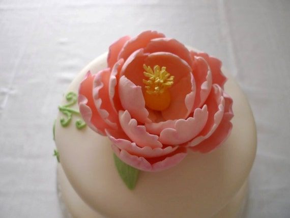 "1 Edible Sugar Peony flower /5"" Large- Wedding cake topper"