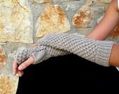 Oatmeal Fingerless Long Gloves