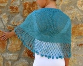 Teal Shawl with fringes