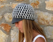 Gray and Off White Newsboy Cap