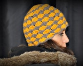 Egg Yolk and Wood Crochet Hat