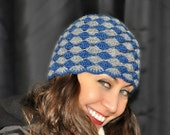 Blue and Gray Crochet Hat