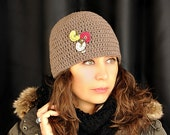 Light Brown Crochet Skullcap with Vintage Flowers