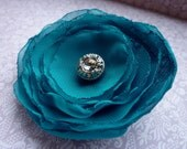 Teal Blue Chiffon Flower Pin - Aqua Blue Chiffon Fabric Brooch