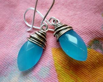 Blue Chalcedony Marquise Earrings - Silver Wire Wrapped Hawaiian Bule Chalcedony Earrings