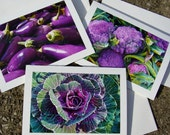 Autumn Harvest  Note Cards - Shades Of Plum - Farmers Market - Set of Three