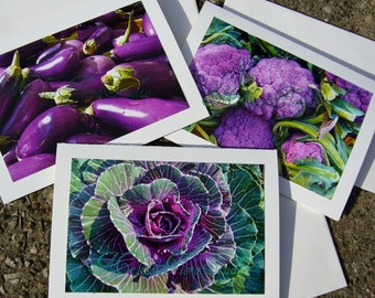 Purple Lovers Autumn Harvest Note Cards - Farmers Market, Handmade Photo Art Cards, Set of Three
