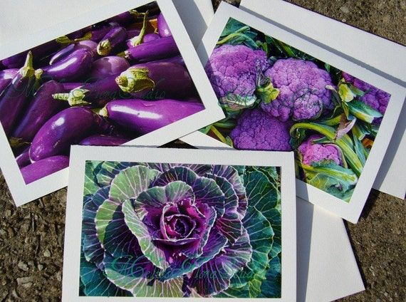 Purple Lovers Autumn Harvest  Note Cards - Farmers Market - Set of Three