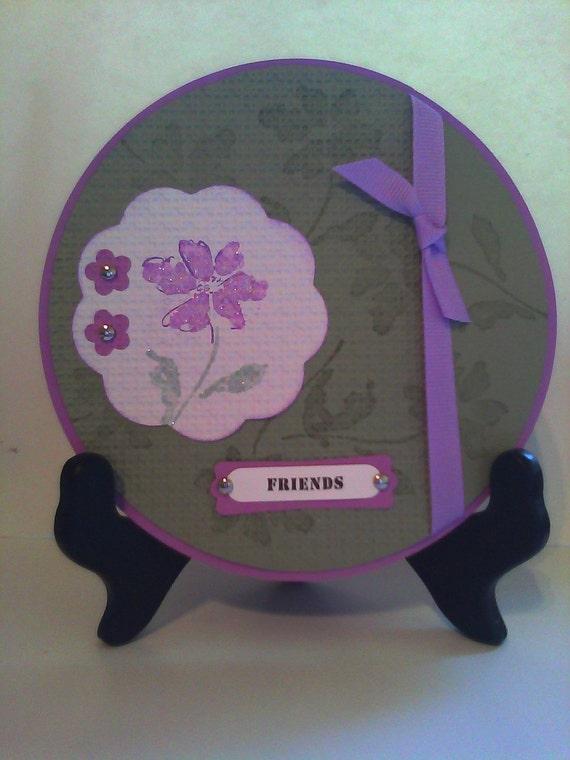 Handmade Stampin Up Circle Friendship Easel Card Feminine