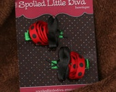 Ladybug Hair Clip Set of 2 Ladybug Hair Bows - Baby Toddler Big Girl Hair Bows - Red and Black Ladybug Hair Clip Perfect for Pigtails