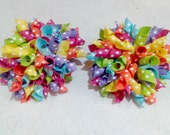 Big and Bright Polka Dot Korker Hair Bow Set of 2 - Mini Korker Sets Also Available