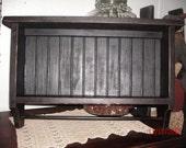 Primitive Destressed Bead Board Shelf with Towel Bar