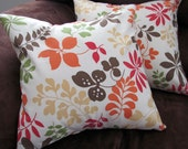 2 New 16 inch Handmade Cream Brown Orange Olive Yellow Red Leaf Design Contemporary Pillow Cover
