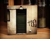 Bamboo Block, graffiti, wall art, bamboo, eco, urban, wood, man, spray paint, black and white, door, print, photography, alley, NW, living
