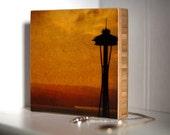 Bamboo Block, Golden Needle, original photography, living room, wall art, seattle, northwest, sunset,  orange, sunrise, building, city