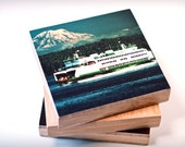 Bamboo Block, ferry, wood , original photography, living room, wall art, boat, nautical, water, print, eco, wood, close up, threads, captain