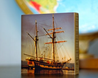 Bamboo Block, Ship, pirate, wall art, sunset, living room, bathroom, boat, water, original, old, sail, captain, man, sunrise, print,