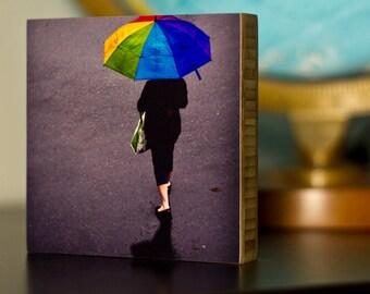 PacificNorthwest,Seattle,Photography, umbrella, urban, wall art, eco, print, photo, flag, rainbow, living room, black, street, rain,