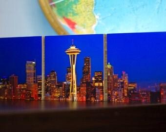 Seattle, Skyline, Bamboo Block, wood, lights, city, urban, space needle, skraper, night, wall art, blue, night, living room, photo , print