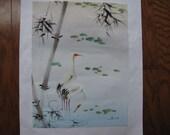 Vintage Painting Asian Original Bird Painting on Silk
