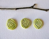Green Leaf Pendants Set of 3 - TinasBeadMind