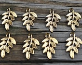 8 Small Gold Leaf Charms