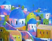 Original Landscape Painting, Santorini, Colourful Acrylics