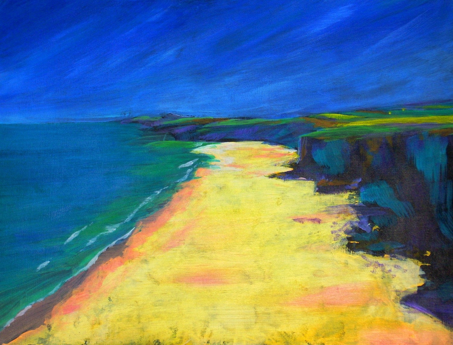 Beach Painting Acrylics in Bright colours