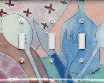 enameled copper light switch cover/abstract kitchen motif