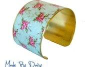 Floral Pattern Cuff Bracelet Vintage Style Brass Flower