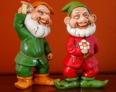 Vintage Gnome set of 2 Christmas Decor Red Green Garden