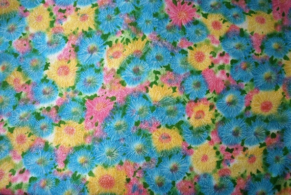 Vintage Floral Flannel Girly Chic 70s Pink Blue Yellow Boho Fluffy Baby Quilts
