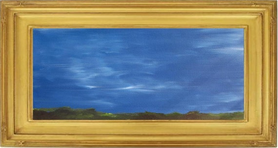 Sky Over Dunes - 8 x 20 - WIDE PAINTING - sky dunes clouds grass